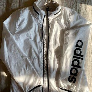 Adidas white rain jacket